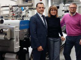 Da sinistra Aldo Franco, Direttore commerciale di Erolabel, Elisabetta Brambilla, Presidente, Andrea Citernesi e Carlo Tessera di Heidelberg Italia.