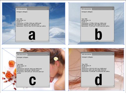 Le immagini impaginate in un documento di illustrator con le relative informazioni: misurano circa 6 Megapixel e con quell'ingombro hanno una risoluzione intorno ai 730 ppi, nell'ingrandimento 10x a destra la risoluzione risultante è di circa 72 ppi. L'immagine B è oltre i 30 Megapixel, anche se l'ingombro fisico è identico al precedente la risoluzione risultante è di 1670 ppi, nell'ingrandimento a destra la risoluzione risultante è 72 ppi circa ma il fattore di ingrandimento è ovviamente molto maggiore dell'altra immagine.