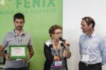 La premiazione di Move, a ritirare il premio Mirko Brisotto con Paola Mortara e il key account di swissQprint, Kilian Hintermann.