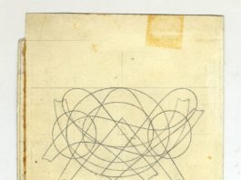 Un disegno originale del carattere Garamond di Simoncini. Non è un opera svolta dagli artisti che partecipano alla mostra. Si ringrazia il Museo del Patrimonio Industriale di Bologna, Fondo Simoncini.