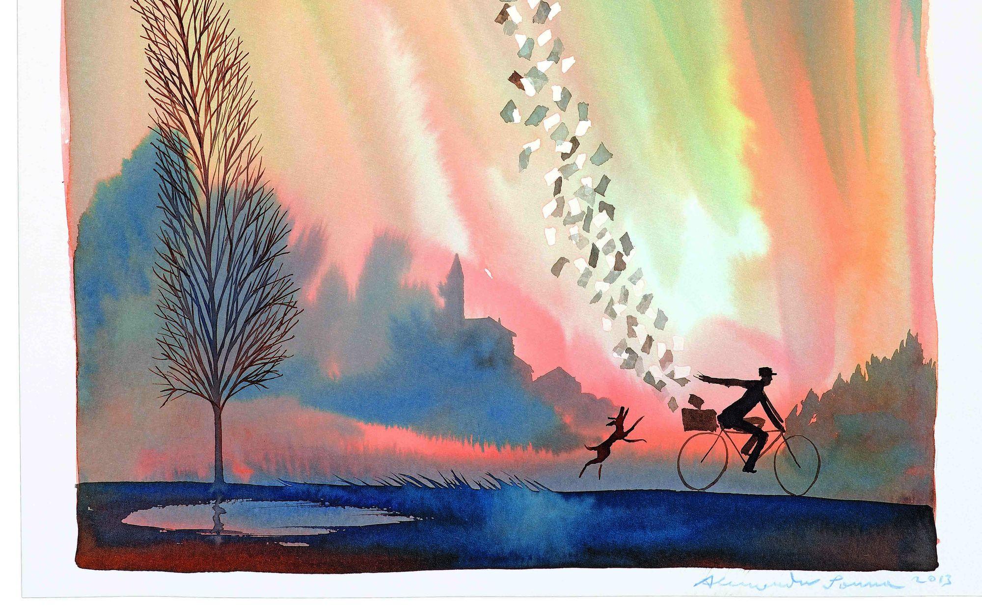 Gennaio-febbraio: «un postino in bicicletta come un Jaques Tati a colori che libera corrispondenze volanti». Alessandro Sanna ha firmato il calendario 2014.