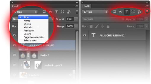 Il menu dei filtri di visualizzazione offre una casistica articolata, adatta alla quasi totalità dei criteri desiderabili. La modalità Tipo è forse la più utilizzata.