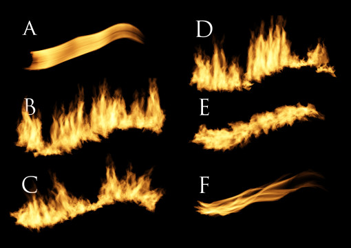 In questa casistica abbiamo tutte le sei tipologie di fiamma che è possibile generare. Per praticità sono stati mantenuti, nei limiti del possibile, gli stessi parametri numerici. A. Una fiamma lungo il tracciato B. Più fiamme lungo il tracciato C. Più fiamme in una direzione D. Più fiamme nella direzione del tracciato E. Più fiamme a varie angolazioni F. Fiamma di candela