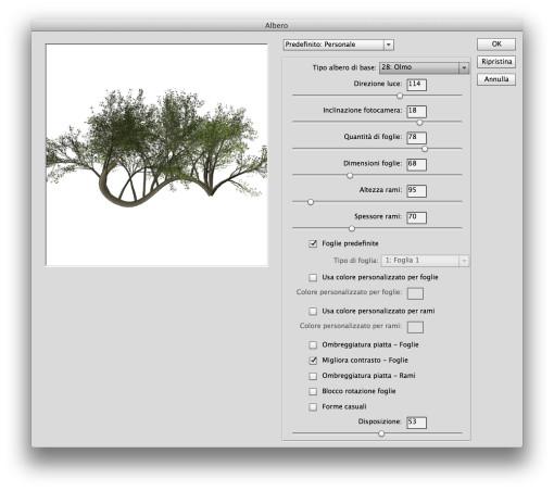 Il ventaglio di predefiniti offerti è ampio: 34 diverse tipologie di alberi personalizzabili liberamente e salvabili all'occorrenza per ogni successivo riutilizzo.