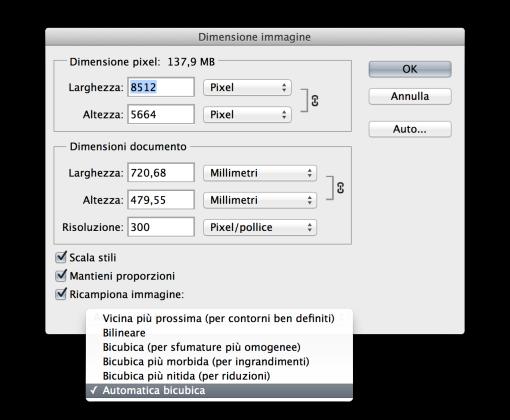 La finestra di dialogo Dimensione Immagine come si presenta da Photoshop CS fino a Photoshop CS6. Con il passare degli anni non ha mai subito grandi mutamenti, se non l'aggiunta di alcune variazioni nell'algoritmo più potente cioè il bicubico (Photoshop CS, con il bicubico più morbido e il bicubico più nitido).