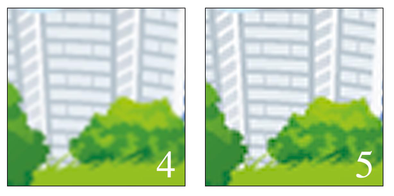 In questa comparativa abbiamo forzato la mano: dal momento che un algoritmo è ottimizzato nell'ammorbidire un ingrandimento (4) e l'altro nel contrastare una riduzione (5), abbiamo scelto un'immagine grafica in cui fossero più evidenti le conseguenze di entrambi. Per la stampa sono stati enfatizzati ma sono facilmente riproducibili in autonomia su qualunque immagine.