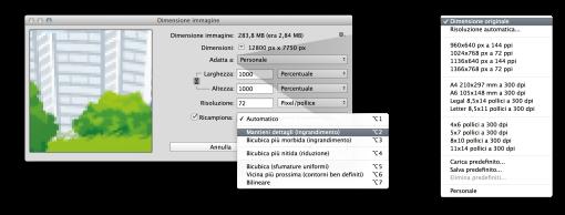 Nella nuova finestra di dialogo presente da Photoshop CC, è comparso il menu a tendina alla voce «Adatta a» con qualche rapido predefinito di adattamento e, ben più importante, la voce «Mantieni dettagli (ingrandimento» alla voce Ricampiona.