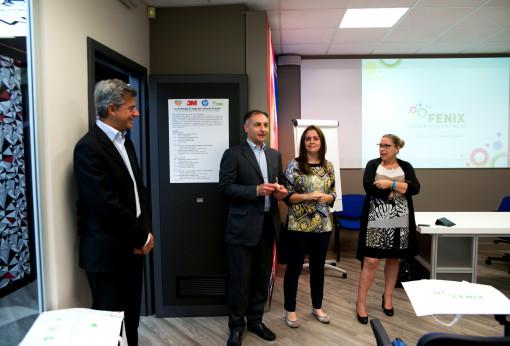Da sinistra a destra Dario Morelli (HP), Fulvio Rohrer (3M), Paola Conti (Sir Visual) e Paola Mortara (Fenix).