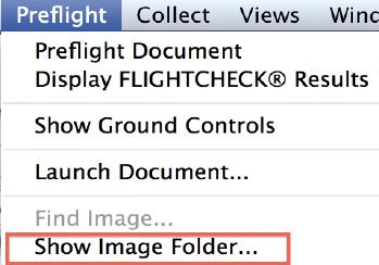 FlightCheck permette di impostare la cartella di riferimento con il comando «Show image folder».