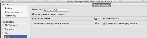 Le limitazioni di preflight consentono agli utenti di personalizzazione le verifiche e le correzioni in un profilo di preflight.