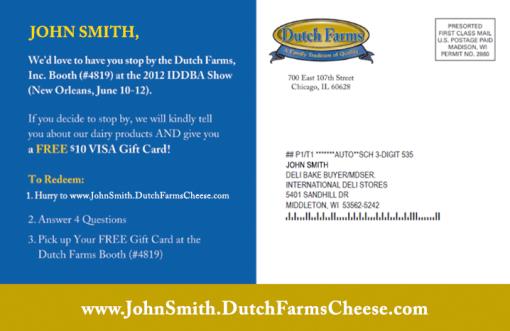 Invito allo stand della Dutch Farm Cheese con un buono sconto di 10$.