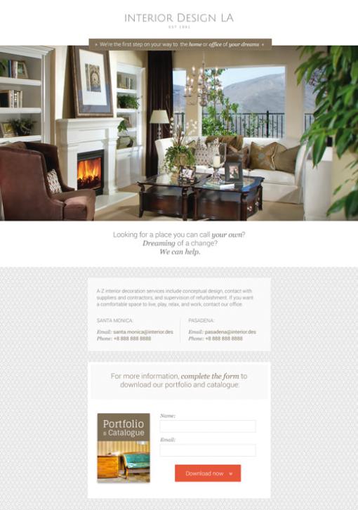 """La landing page di """"Interior Design LA""""."""