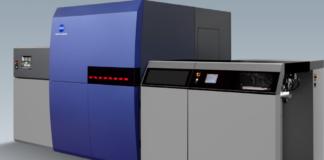 KM-1, la macchina da stampa B2+ a getto d'inchiostro UV di Konica Minolta, lanciata a drupa.