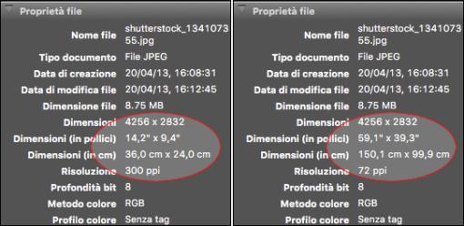 I dati immagine di due file identici, con lo stesso contenuto e le stesse dimensioni in pixel, in cui è stato cambiato il solo valore di risoluzione portandolo da 72 a 300 ppi: il peso non è cambiato, le dimensioni fisiche si, in maniera inversamente proporzionale alla risoluzione.